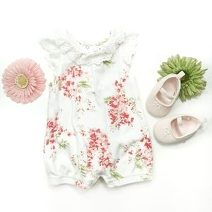 Laura Ashley Floral Romper With Shoes Size 3-6 M
